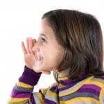 Beautiful girl whispering a secret — Stock Photo