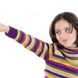 Beautiful girl pointing with her finger — Stock Photo
