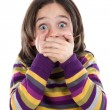 Graceful gesture of a girl covered his mouth — Stock Photo