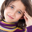Adorable girl whit headache — Stock Photo