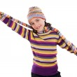 Adorable little girl with clothes for the winter — Stock Photo