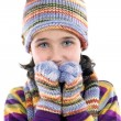 Adorable little girl with clothes for the winter — Stock Photo #9436030