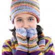 Stock Photo: Adorable little girl with clothes for the winter