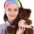 Pretty girl with teddy bear — Stock Photo