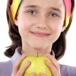 Adorable girl with a apple — Foto Stock