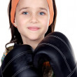 Girl with boxing gloves — Stock Photo