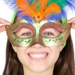 Adorable little girl with Venetian carnival mask - Stock Photo