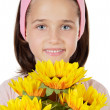 Pretty girl with flowers — Stock Photo #9436308