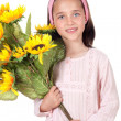 Pretty girl with a bouquet of sunflowers — Stock Photo #9436310
