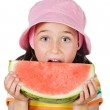 Adorable girl eating watermelon — Stock Photo #9436335