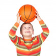 Funny child with a basketball — Stock Photo