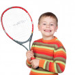 Funny child with a tennis racket — Stock Photo