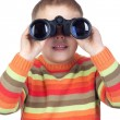 Little boy looking through binoculars - Lizenzfreies Foto