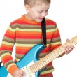 Boy whit electric guitar — Stok fotoğraf