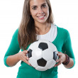 Adorable pretty girl with soccer ball — Lizenzfreies Foto