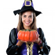 Pretty girl with witch costume — Stock Photo