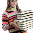 Adorable girl with many books — Stock Photo #9436847