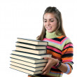 Adorable girl with many books — Stock Photo #9436849