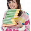 Girl with a books — Stock Photo