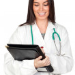 Attractive doctor woman doing report — Stock Photo #9437029