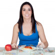 Attractive girl at lunchtime — Stock Photo #9437243