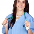 Attractive brunette doctor — Stock Photo #9437356