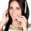 Beautiful brunette girl with headphone — Foto Stock