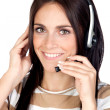 Beautiful brunette girl with headphone — Foto de Stock