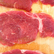 Steaks raw salted pork - Foto Stock