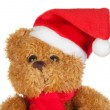 Beautiful teddy bear with scarf and Christmas hat — Stock Photo