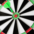 Green dart punctured in the center - Stock Photo