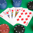 Poker cards with straight flush - Stock Photo