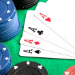 Four aces and poker stacked chips — Stock Photo #9437912