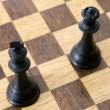 Photo view from above of chess pieces on the board - Stock Photo
