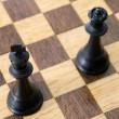 Photo view from above of chess pieces on the board — Stock Photo