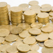 Macro of many coins cents Euro — Foto Stock