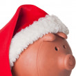 Piggy bank with Santa Claus hat — Stock fotografie