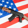 Flag of the United States with a weapon - Stock Photo