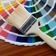 Paintbrush with card of colors — Stock Photo #9439118