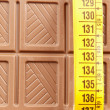 Chocolate bar and tape measure — Stock Photo
