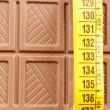 Chocolate bar and tape measure — Stock Photo