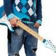 Man holding electric guitar — Stock Photo