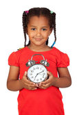 African little girl with a silvered clock — Stock Photo