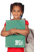African little girl with a folder and backpack — Stok fotoğraf