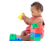 Baby med block — Stockfoto