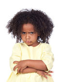 Angry little girl with beautiful hairstyle — Stock Photo