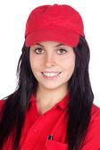 Brunette dealer with red uniform — Stock Photo