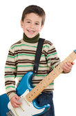 Adorable child playing electric guitar — Stock Photo