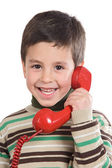 Adorable child on the phone — Stock Photo