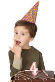 Adorable kid celebrating his birthday — Stock Photo